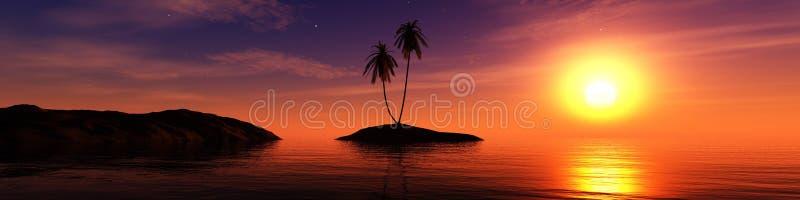 Paisagem tropical, praia com as palmeiras no por do sol foto de stock royalty free