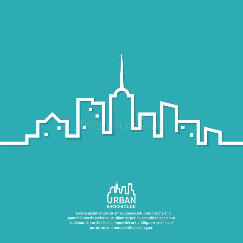 A paisagem urbana é projetada em um minimalista ilustração royalty free