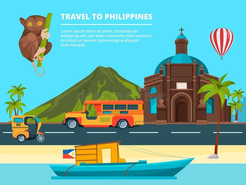 Paisagem urbana com os marcos de Filipinas ilustração stock