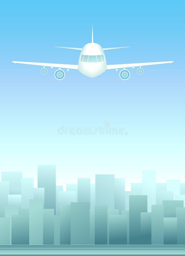 Paisagem urbana com plano no céu ilustração do vetor