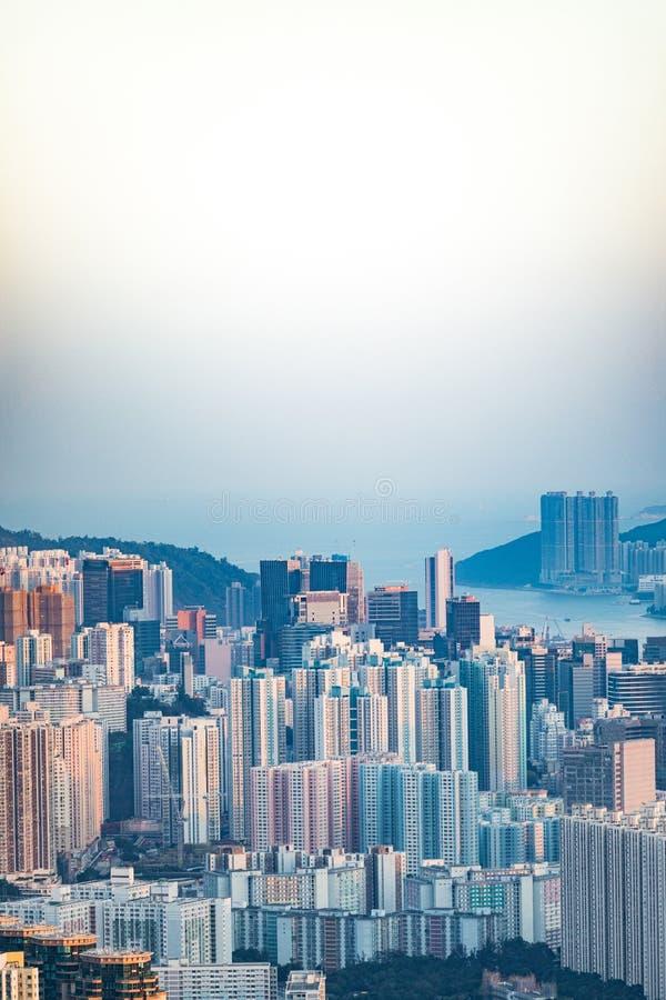 Paisagem urbana do centro da cidade, Kowloon, Hong Kong foto de stock royalty free