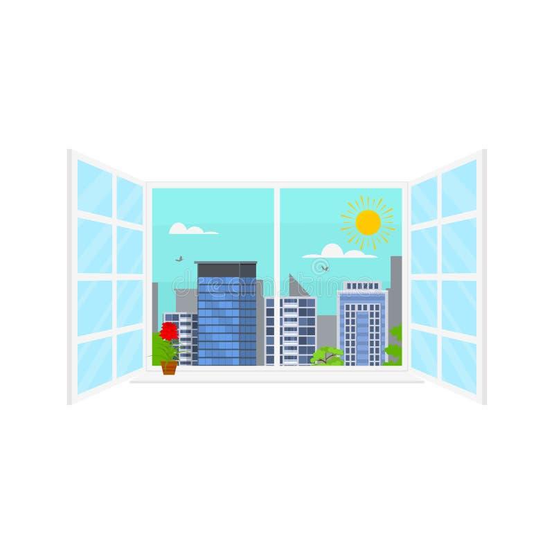 Paisagem urbana do dia no conceito da cena da janela Vetor ilustração royalty free