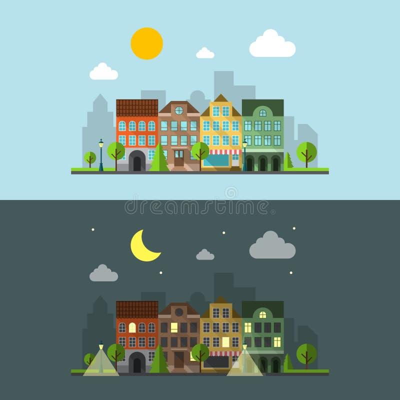 Paisagem urbana do projeto liso ilustração do vetor