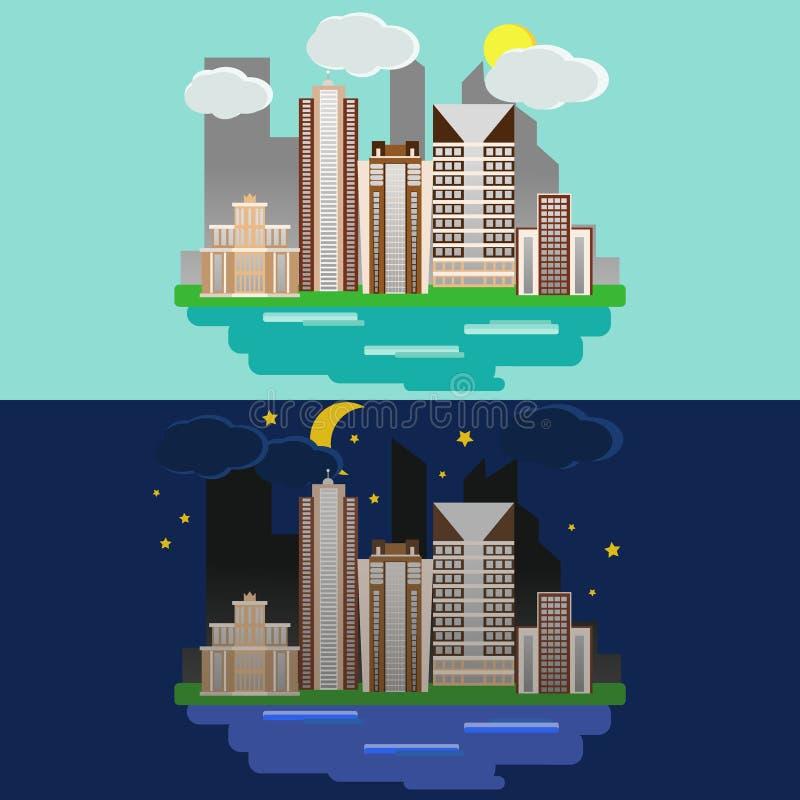 Paisagem urbana do projeto liso Cidade da noite e do dia com construções ilustração stock