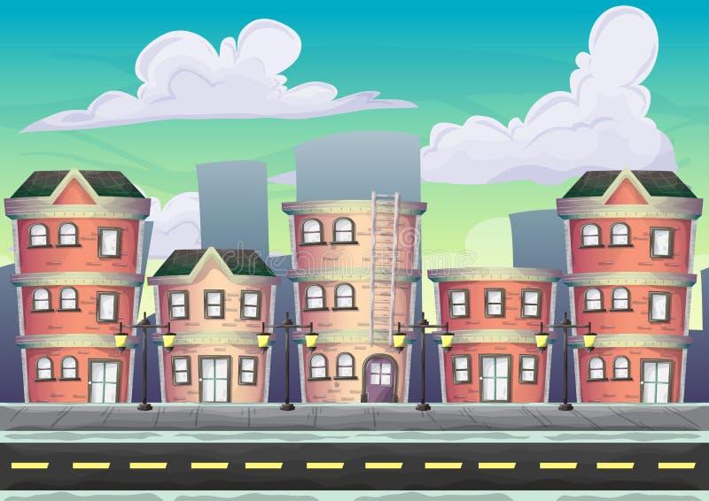Paisagem urbana do vetor dos desenhos animados com camadas separadas ilustração do vetor