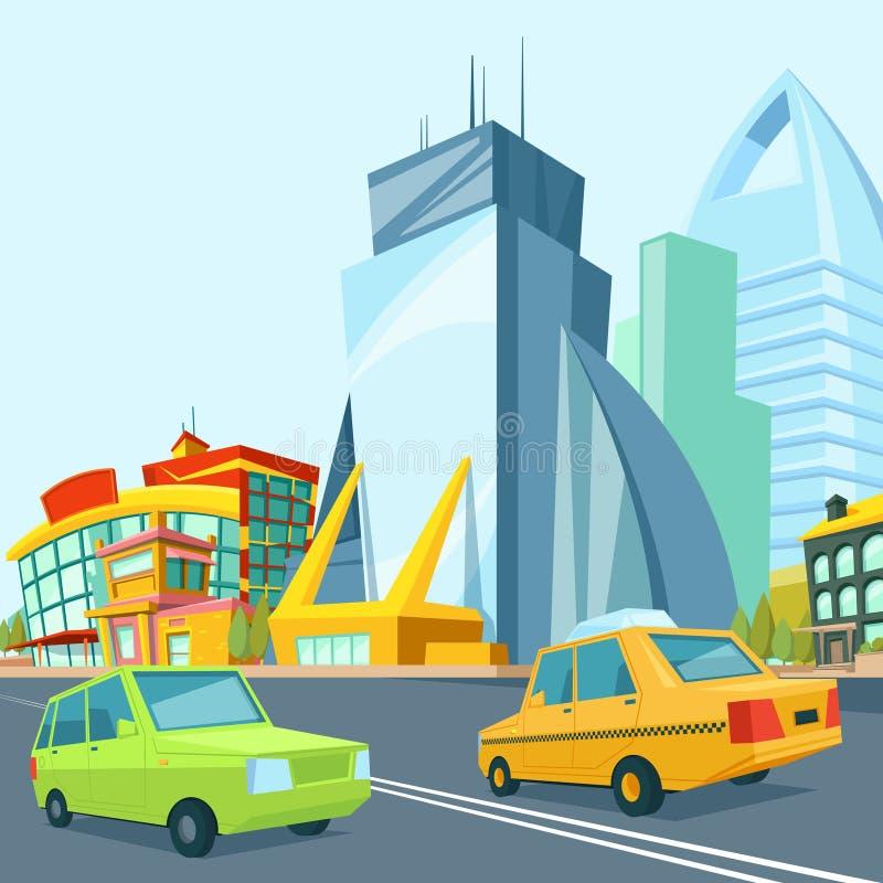 Paisagem urbana dos desenhos animados com construções modernas ilustração do vetor