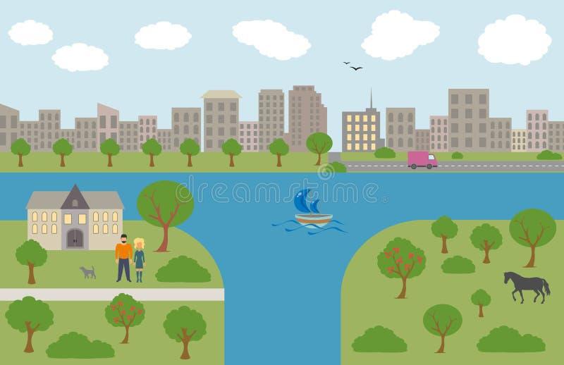 Paisagem urbana e da vila ilustração stock