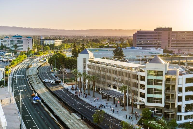 Paisagem urbana em Santa Clara, Califórnia fotografia de stock