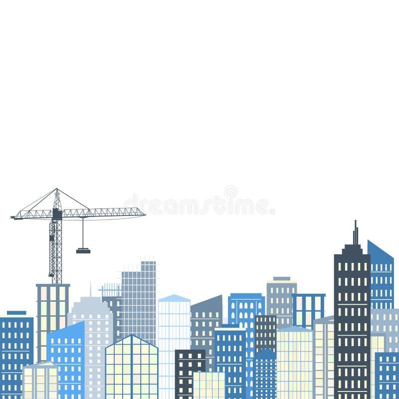 Paisagem urbana Ilustração do vetor Paleta do fundo da cidade, a cinzenta e a azul