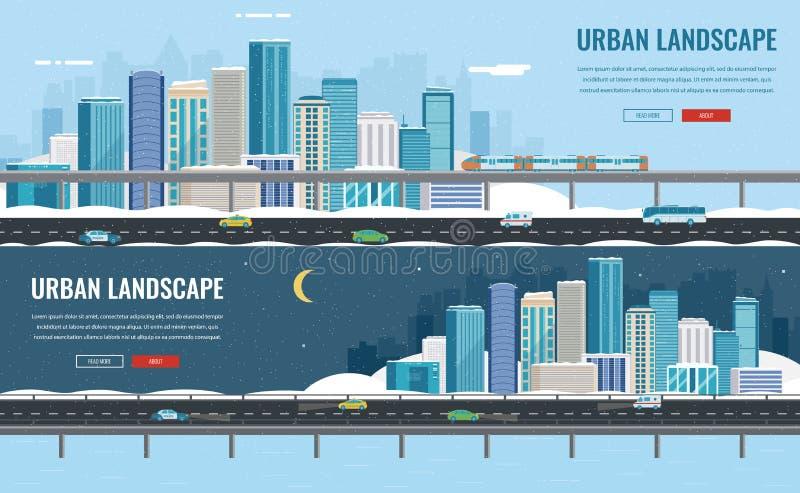 Paisagem urbana nevado Cidade do inverno Arquitetura da construção, cidade da arquitetura da cidade Cidade com flocos de neve Vet ilustração stock