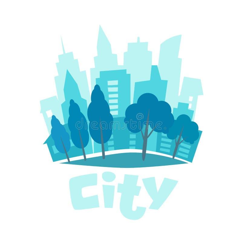 Paisagem urbana no estilo liso Ilustração do vetor da skyline da cidade Ícone azul da silhueta da cidade Vida urbana Fundo da cid ilustração stock