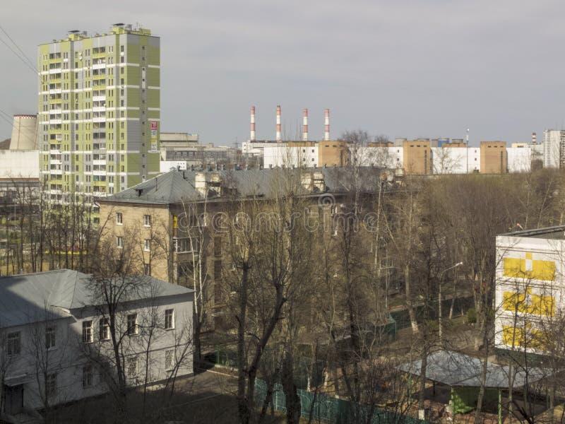 Paisagem urbana, ?rea urbana bonita Mola adiantada fotografia de stock