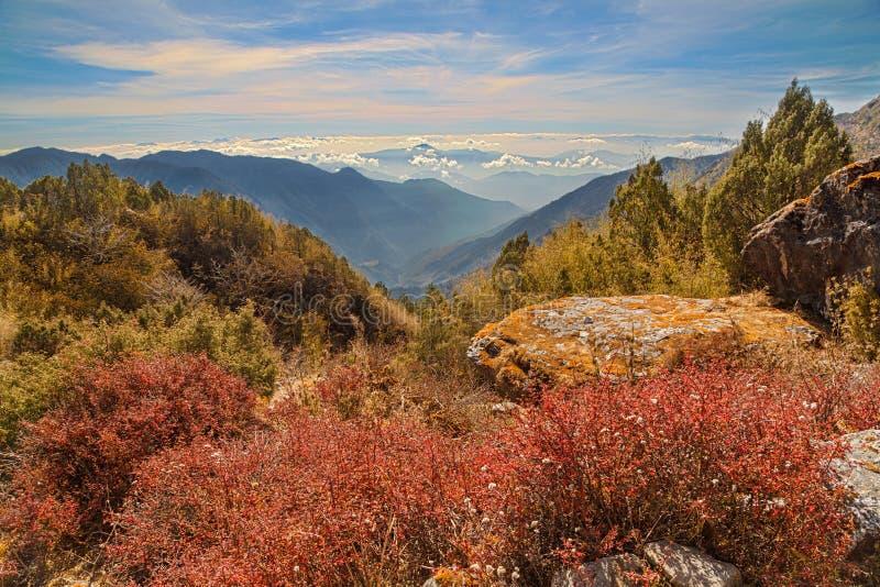 Paisagem vasta da montanha com vegetação e os pedregulhos vermelhos foto de stock royalty free
