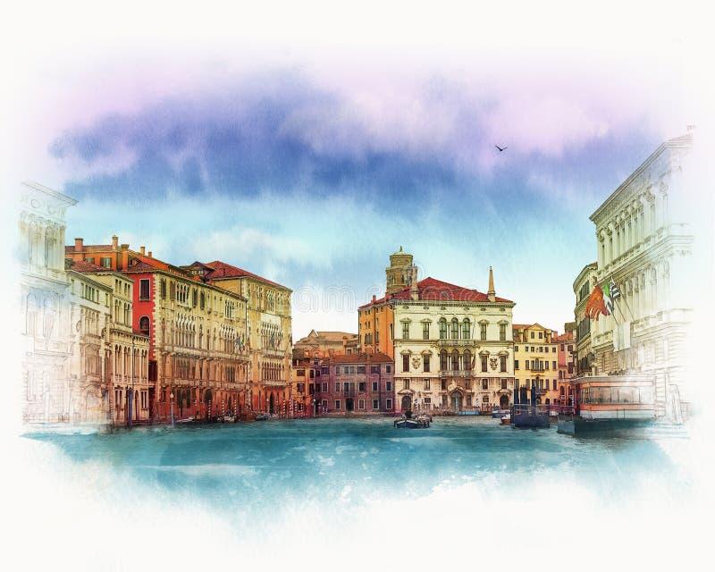 Paisagem Venetian velha Italy Esboço da aquarela ilustração do vetor
