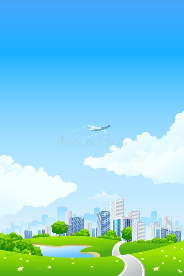 Paisagem verde com cidade