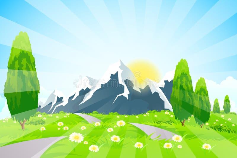 Paisagem verde com estrada e montanhas ilustração do vetor