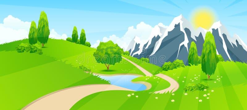 Paisagem verde com estrada e montanhas ilustração royalty free