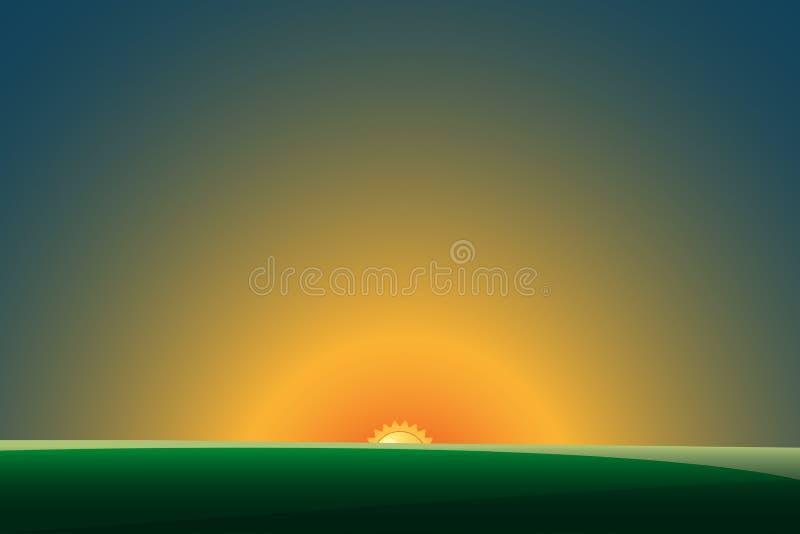 Paisagem verde com por do sol Ilustração EPS10 do vetor ilustração royalty free