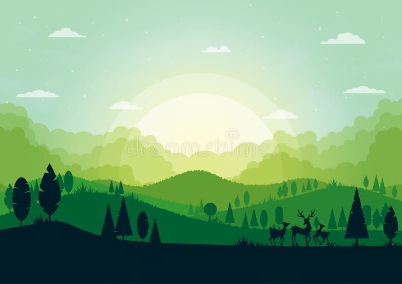 Paisagem verde da natureza da silhueta com abst da floresta e das montanhas ilustração do vetor