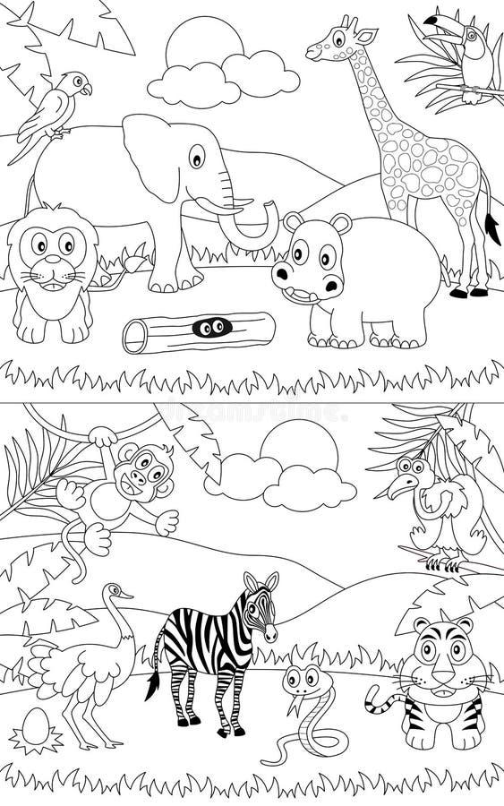 Paisagens africanas colorindo [1] ilustração do vetor