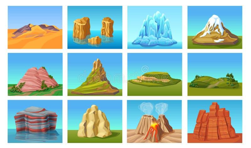 Paisagens da montanha dos desenhos animados ajustadas ilustração royalty free