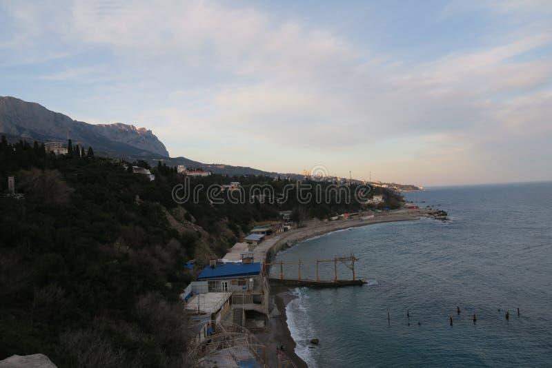 Paisagens de Simeiz da costa do Mar Negro fotos de stock
