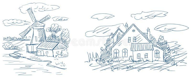 Paisagens do campo ilustração royalty free