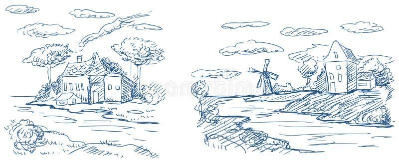 Paisagens do campo com moinho de vento e casas ilustração do vetor