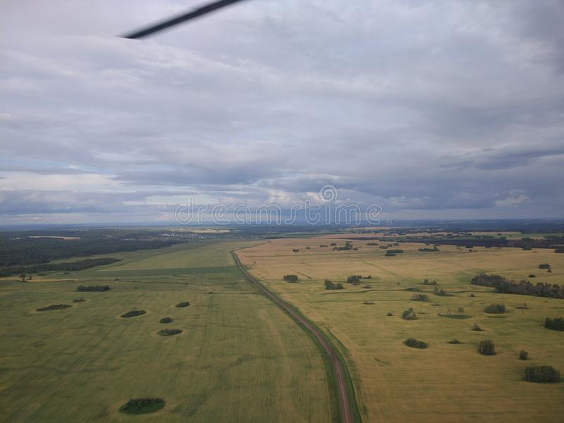 Paisagens do helicóptero fotografia de stock royalty free