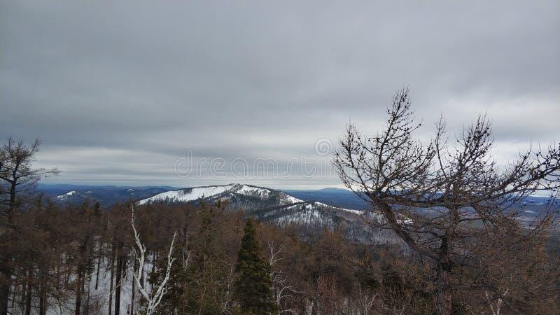 Paisagens do inverno na montanha nebulosa Sugomak do dia de Ural foto de stock royalty free