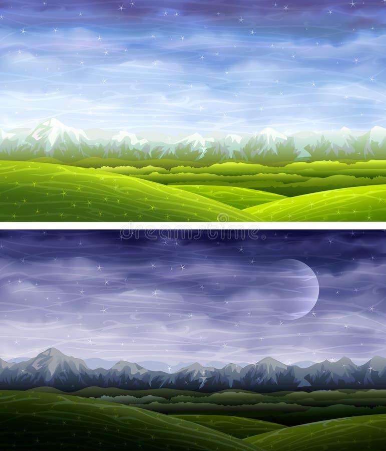 Paisagens do rolamento do dia e da noite ilustração do vetor
