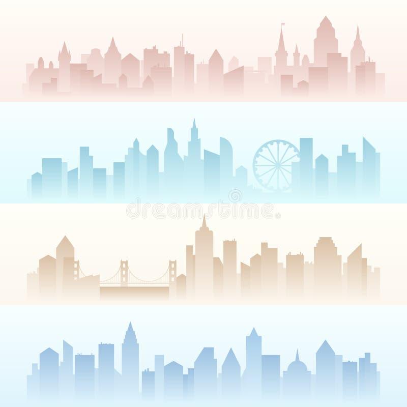 Paisagens horizontais ajustadas das bandeiras da cidade moderna urbana com os arranha-céus altos na névoa da poluição ilustração stock