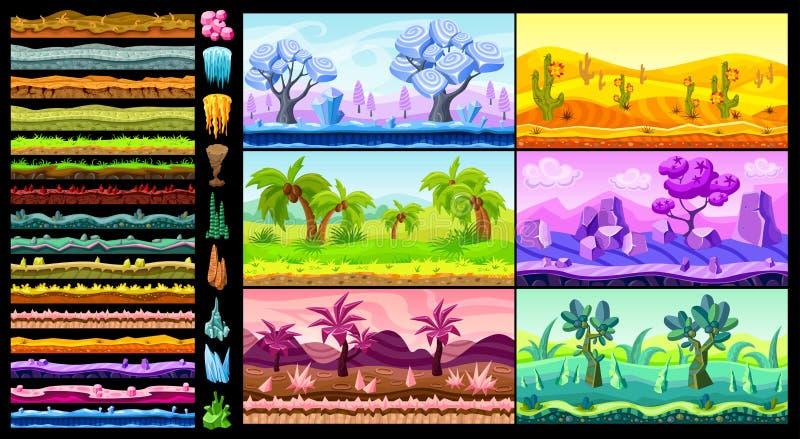 Paisagens isométricas brilhantes do jogo ajustadas ilustração stock