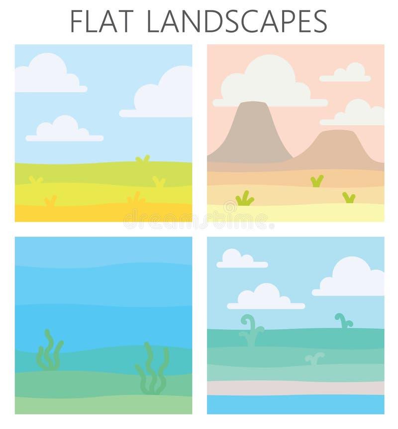 Paisagens macias da natureza Abandone com montanhas, campo verde do verão, costa com algumas plantas, vista subaquática com alga ilustração stock