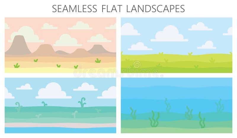 Paisagens macias da natureza Deserto com montanhas, campo verde do verão, costa, plantas, vista subaquática com alga Vetor ilustração royalty free