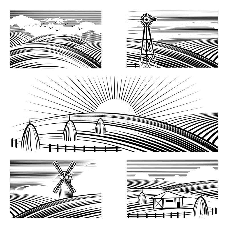 Paisagens rurais retros ilustração stock