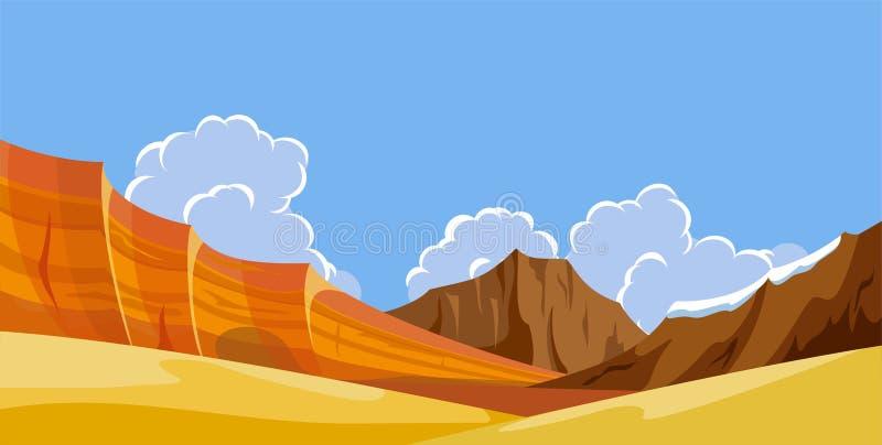 Paisagens selvagens da natureza do deserto ilustração do vetor