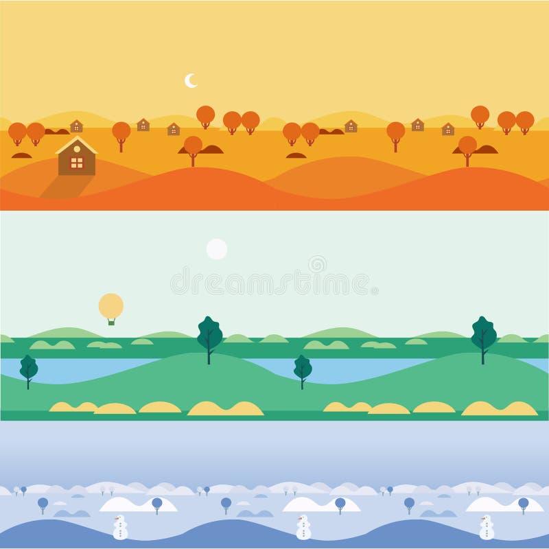 Paisagens sem emenda outono do fundo, verão ilustração royalty free