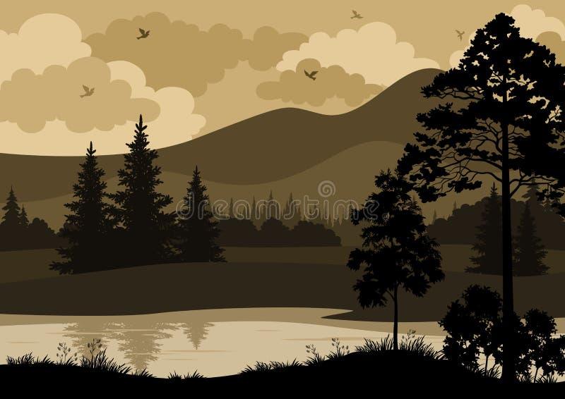 Paisaje, árboles, montañas y río libre illustration