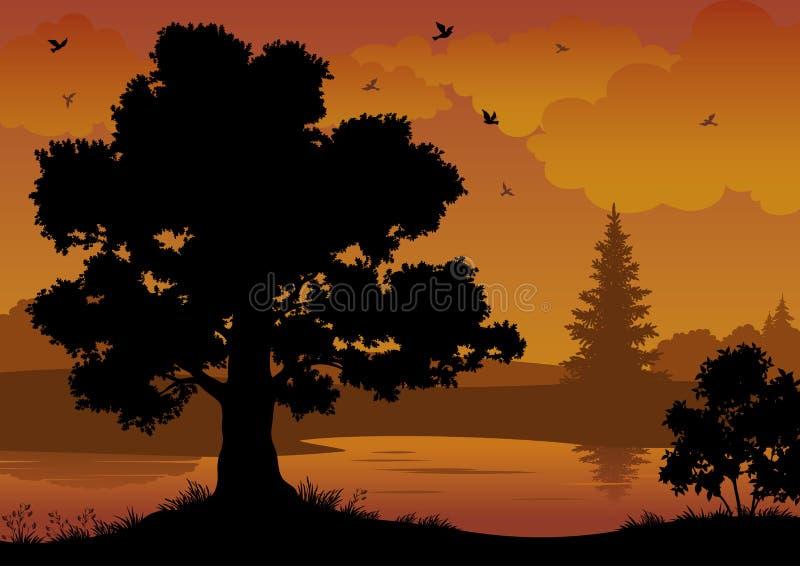 Paisaje, árboles, río y pájaros libre illustration