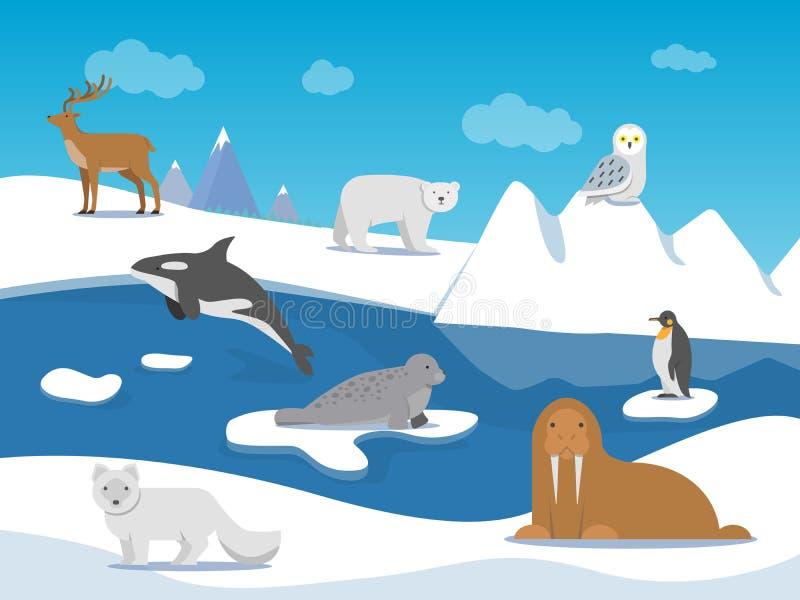 Paisaje ártico con diversos animales polares stock de ilustración