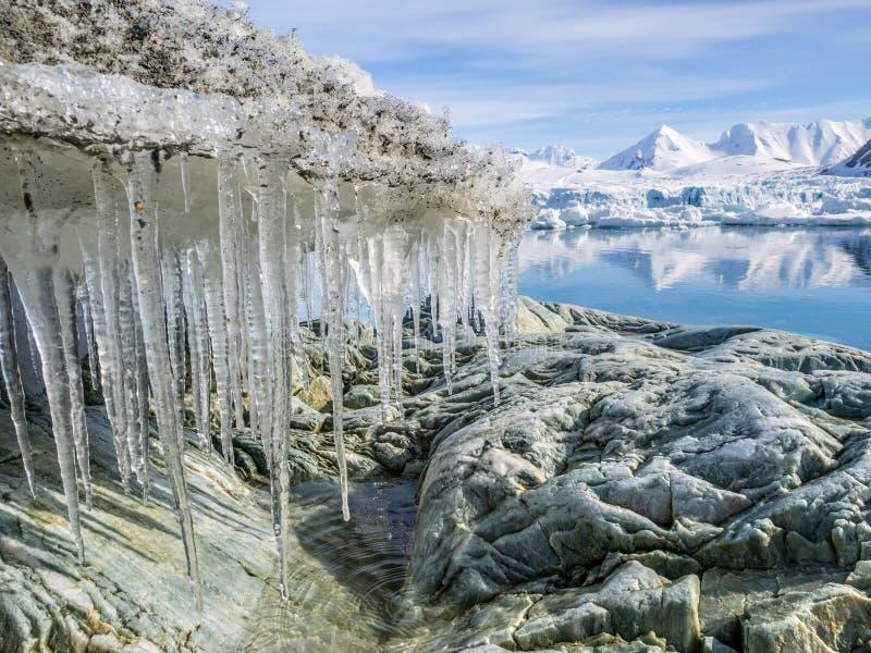 Paisaje ártico - glaciares y montañas - Spitsbergen imagenes de archivo