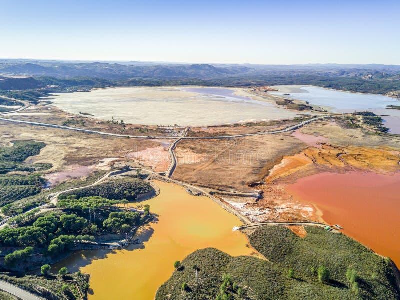 Paisaje aéreo de los lagos inusuales, coloridos en Minas de Riotinto imagen de archivo