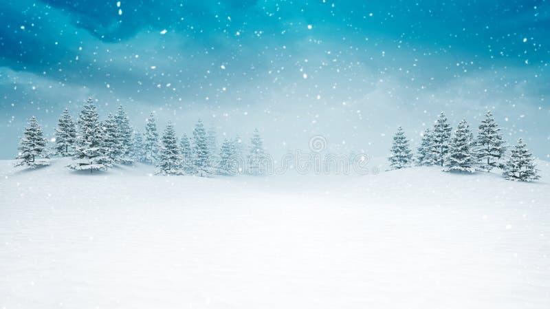 Paisaje abierto nevado del invierno en las nevadas ilustración del vector