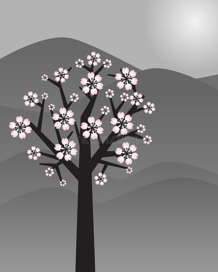 Paisaje abstracto con el árbol - vector stock de ilustración