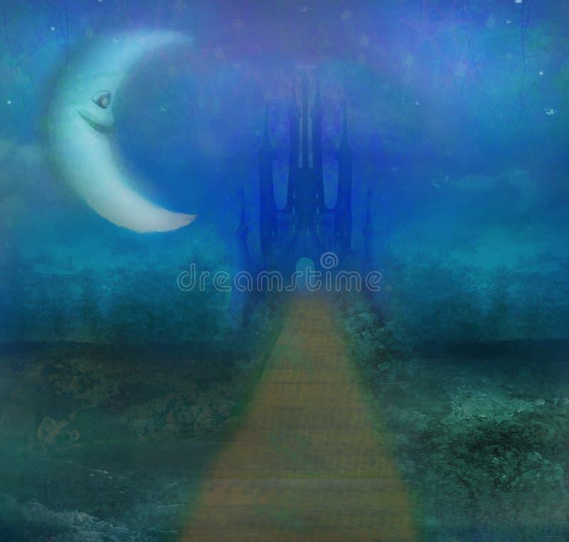 Paisaje abstracto con el castillo viejo y la luna sonriente stock de ilustración