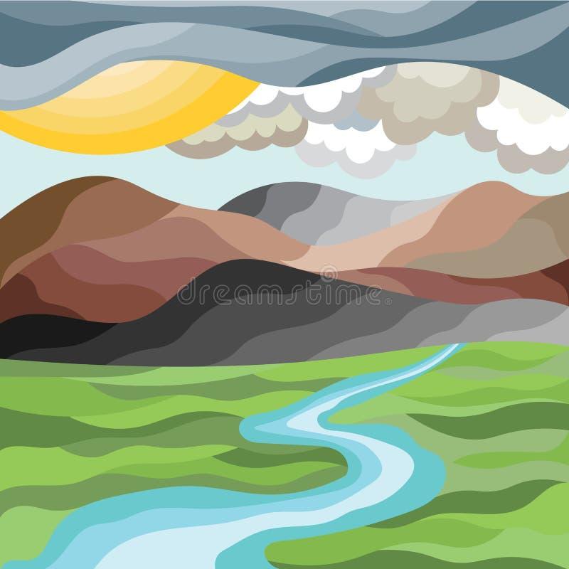 Paisaje abstracto de la montaña en estilo del mosaico libre illustration