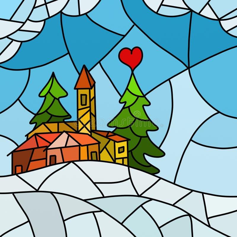 Paisaje abstracto de la Navidad ilustración del vector