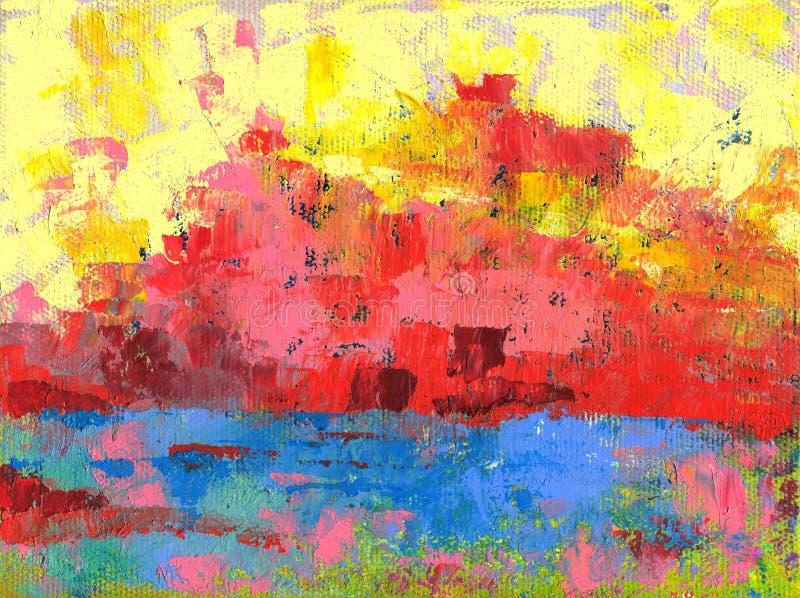 Paisaje abstracto de la pintura al óleo imágenes de archivo libres de regalías
