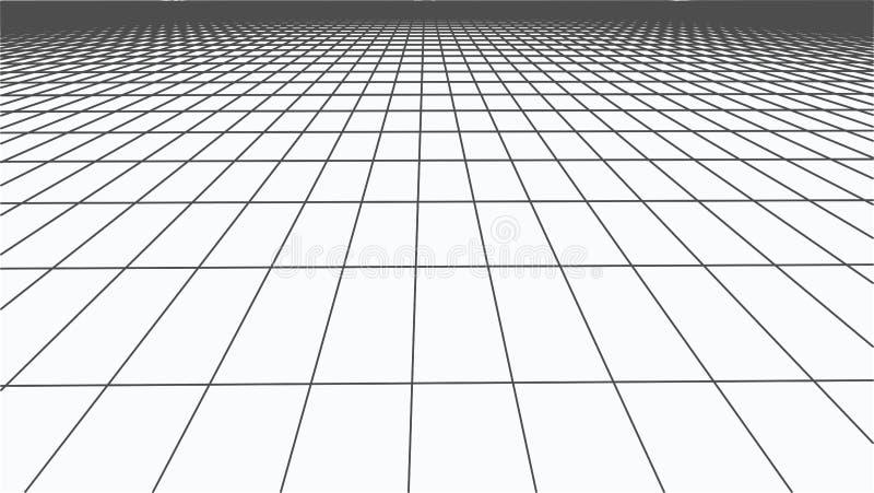 Paisaje abstracto del marco Rejilla de la perspectiva del vector malla 3d stock de ilustración